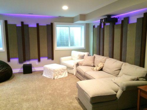 Basement theater features 4K, Acoustic panels, and LED lighting Boulder